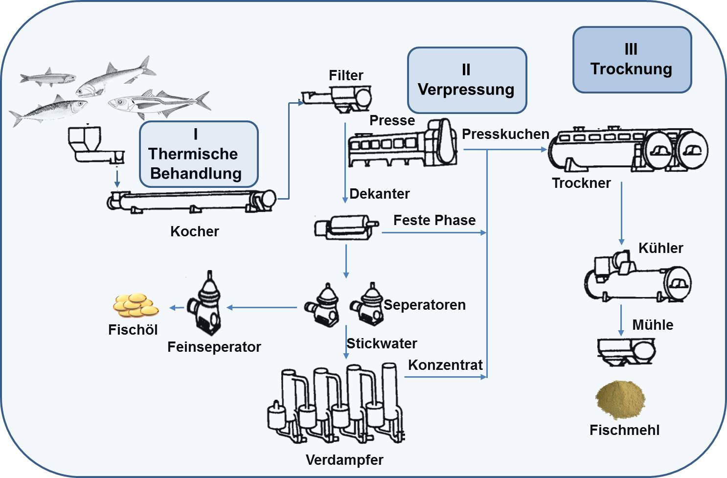 Produktion von Fischmehl