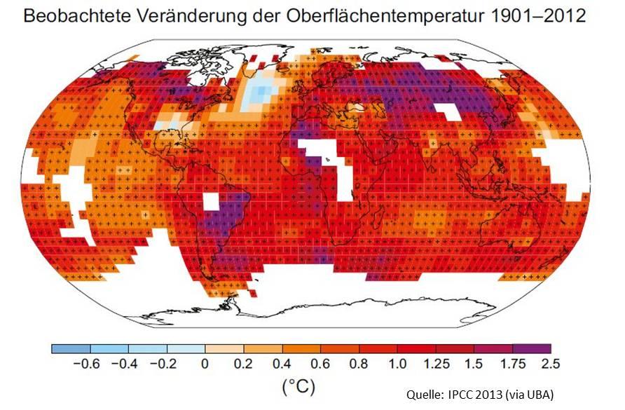 Die Oberflächentemperaturen auf der Welt verändern sich.